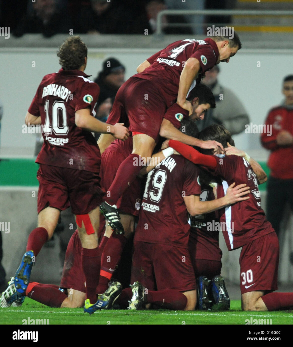 Offenbach's celebrate Mathias Fetsch's 1-0 goal during the round of the last 16 DFB Cup match between Kickers - Stock Image