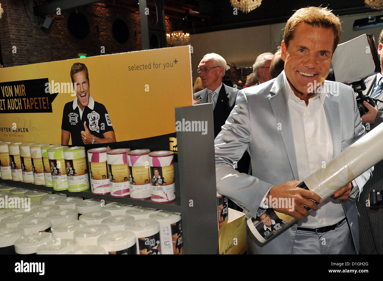 German musician Dieter Bohlen poses for pictures as he presents his first wallpaper collection at a Pickardt + Siebert - Stock Image
