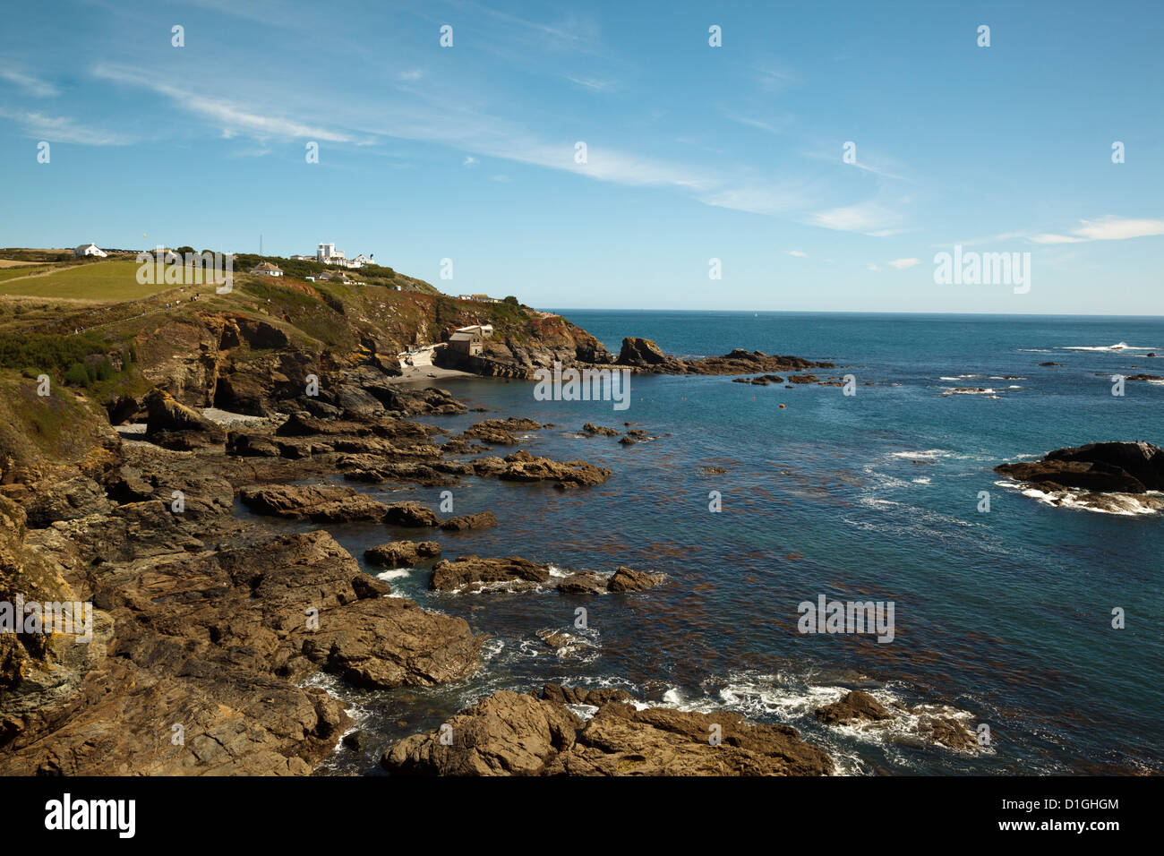 Lizard Point lighthouse and lifeboat house, the most southerly point on mainland Britain, Cornwall, England, United - Stock Image