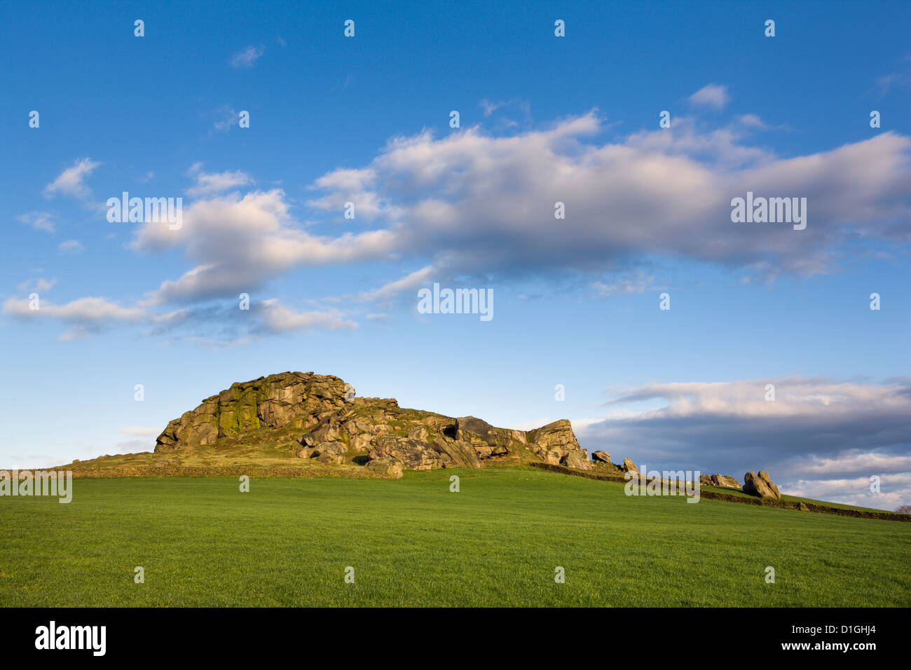 Evening light on Almscliff Crag in Spring, North Yorkshire, Yorkshire, England, United Kingdom, Europe - Stock Image