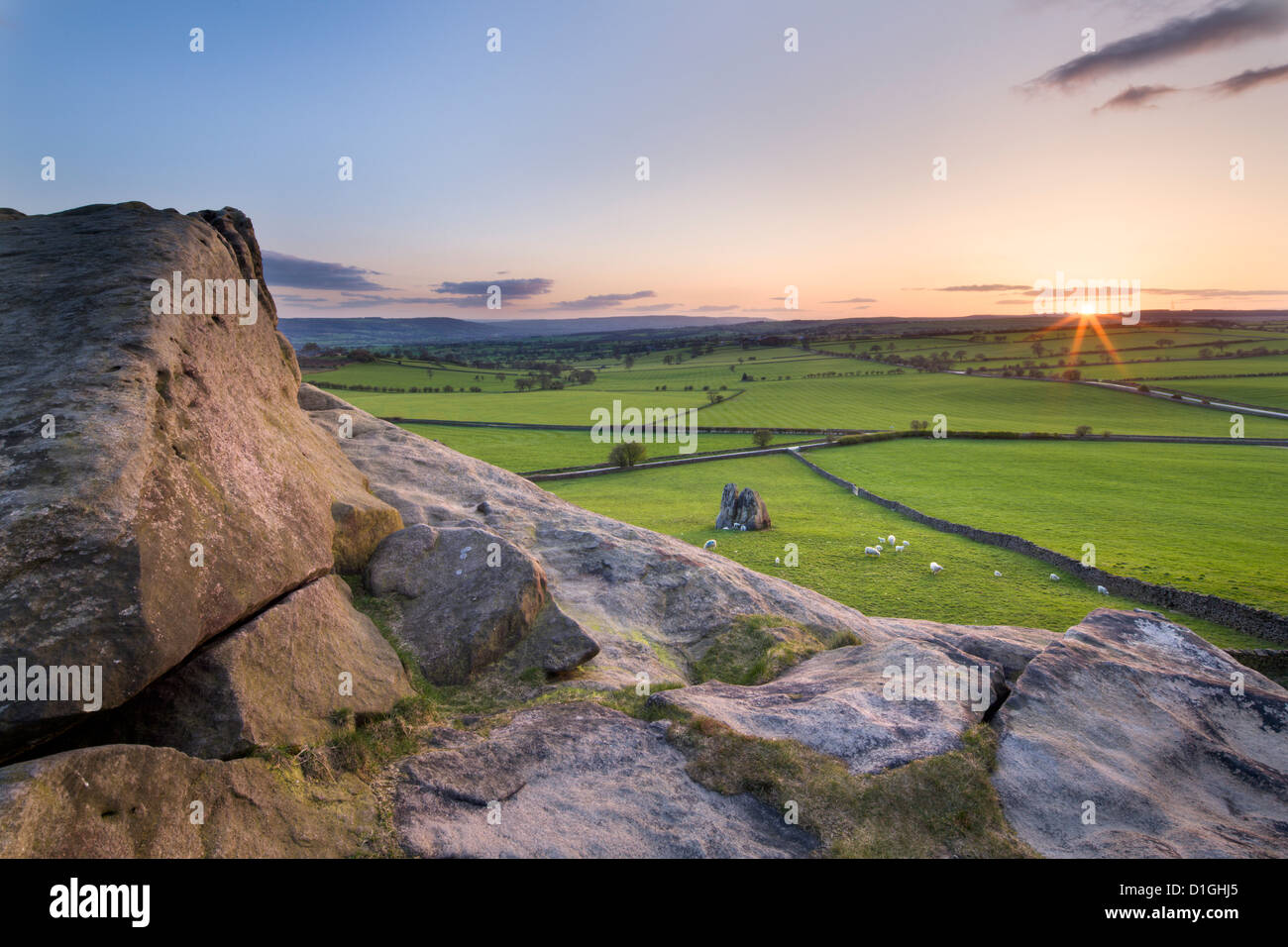 Sunset from the top of Almscliff Crag in Spring, North Yorkshire, Yorkshire, England, United Kingdom, Europe - Stock Image