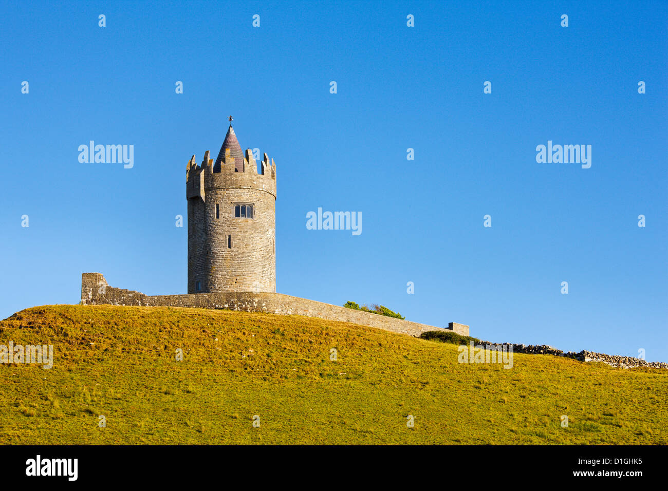 Doonagore Castle on the County Clare coast, County Clare, Munster, Republic of Ireland - Stock Image