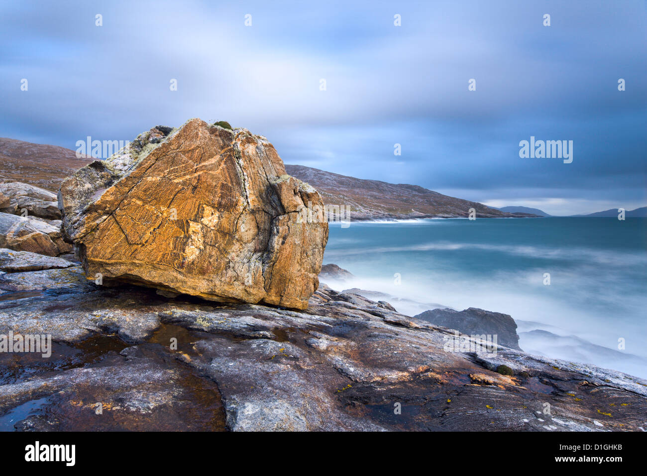 Giant Lewisian gneiss rock at Mealista on the south west coast of Lewis, Isle of Lewis, Outer Hebrides, Scotland - Stock Image