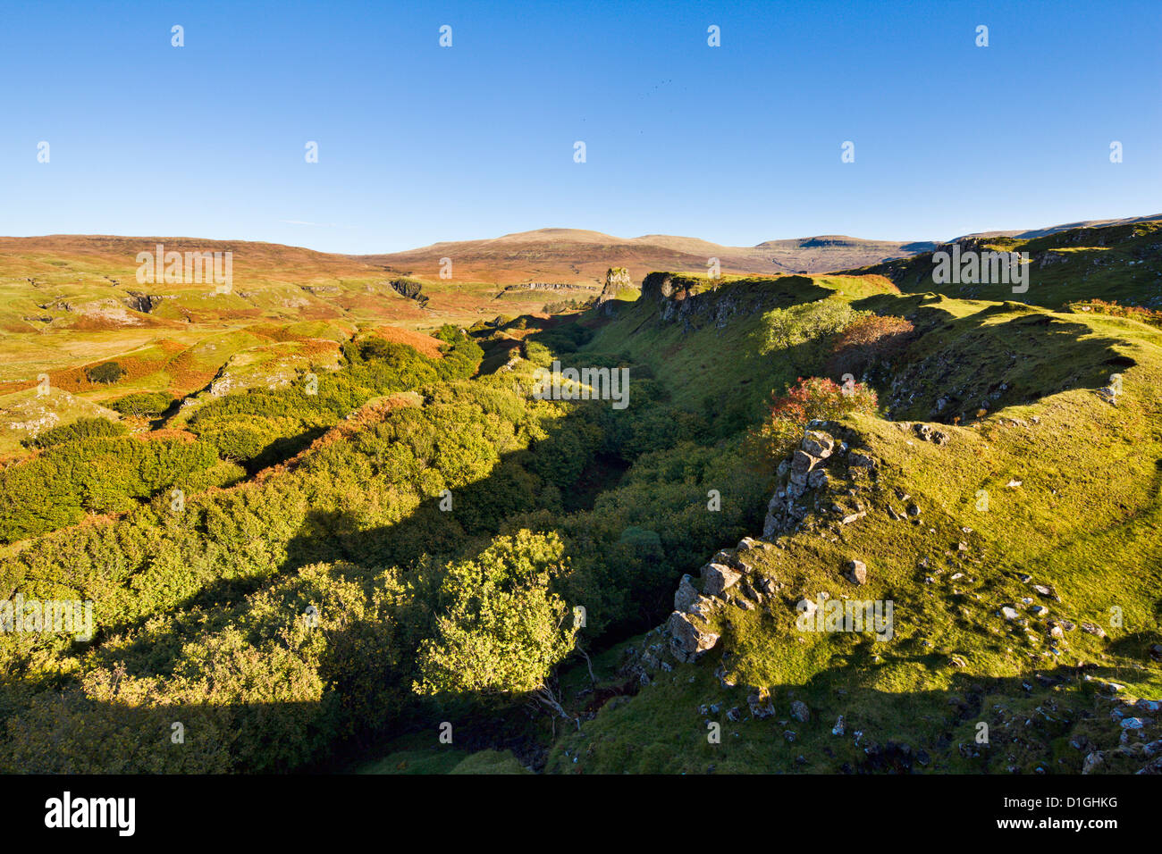 The Fairy (Faerie) Glen near Uig on the Isle of Skye, Inner Hebrides, Scotland, United Kingdom, Europe - Stock Image
