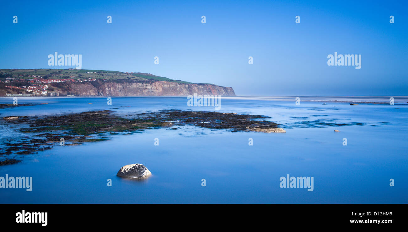 Robin Hood's Bay from Boggle Hole, North Yorkshire, Yorkshire, England, United Kingdom, Europe - Stock Image