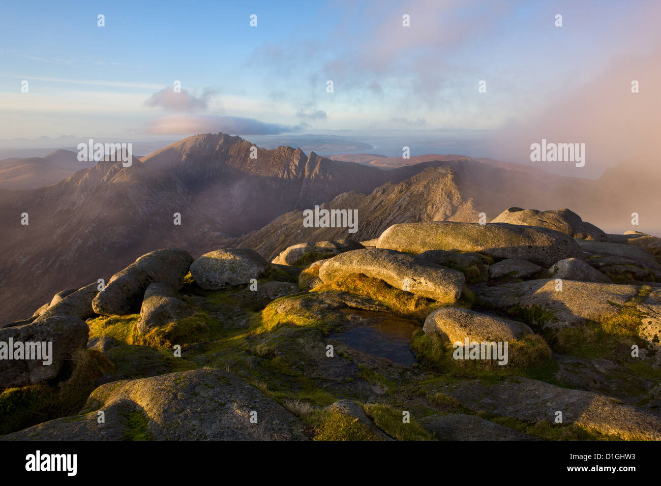 Cloud rolls in on the summit of Goat Fell, Isle of Arran, Scotland, United Kingdom, Europe - Stock Image