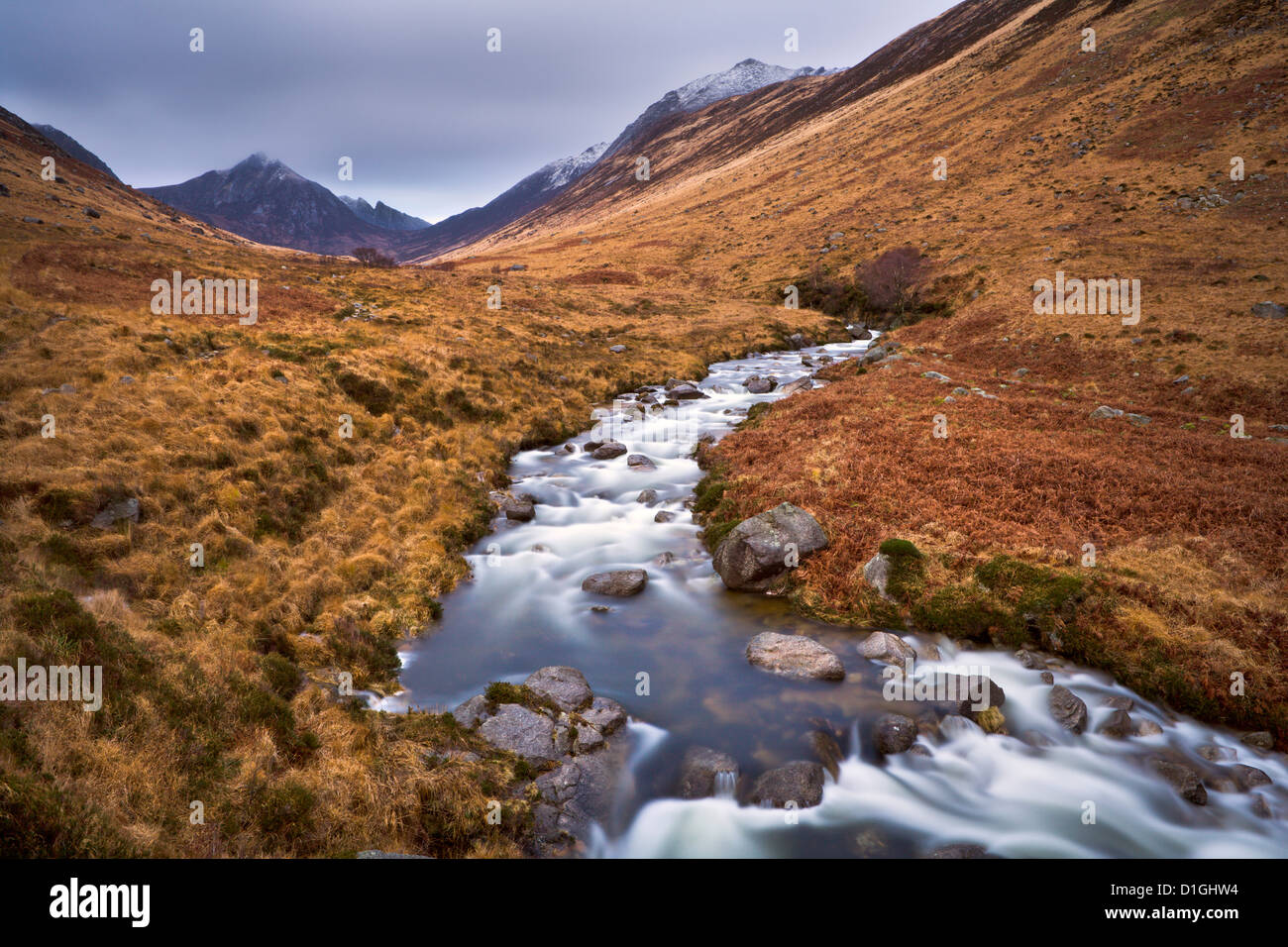 Glen Rosa Water, with Cir Mhor and Goat Fell peaks ahead, Isle of Arran, Scotland, United Kingdom, Europe - Stock Image