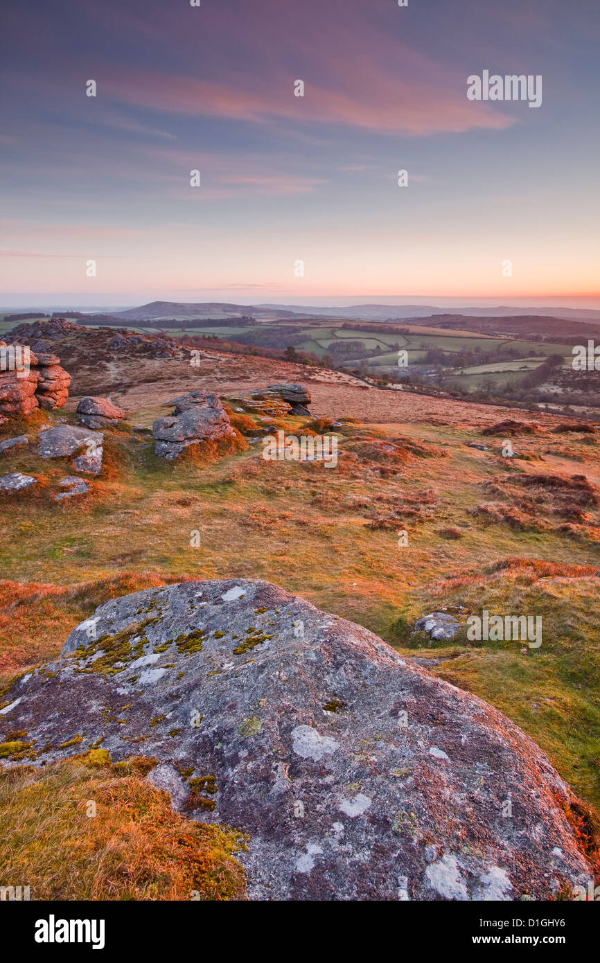 The view from Chinkwell Tor in Dartmoor National Park, Devon, England, United Kingdom, Europe - Stock Image