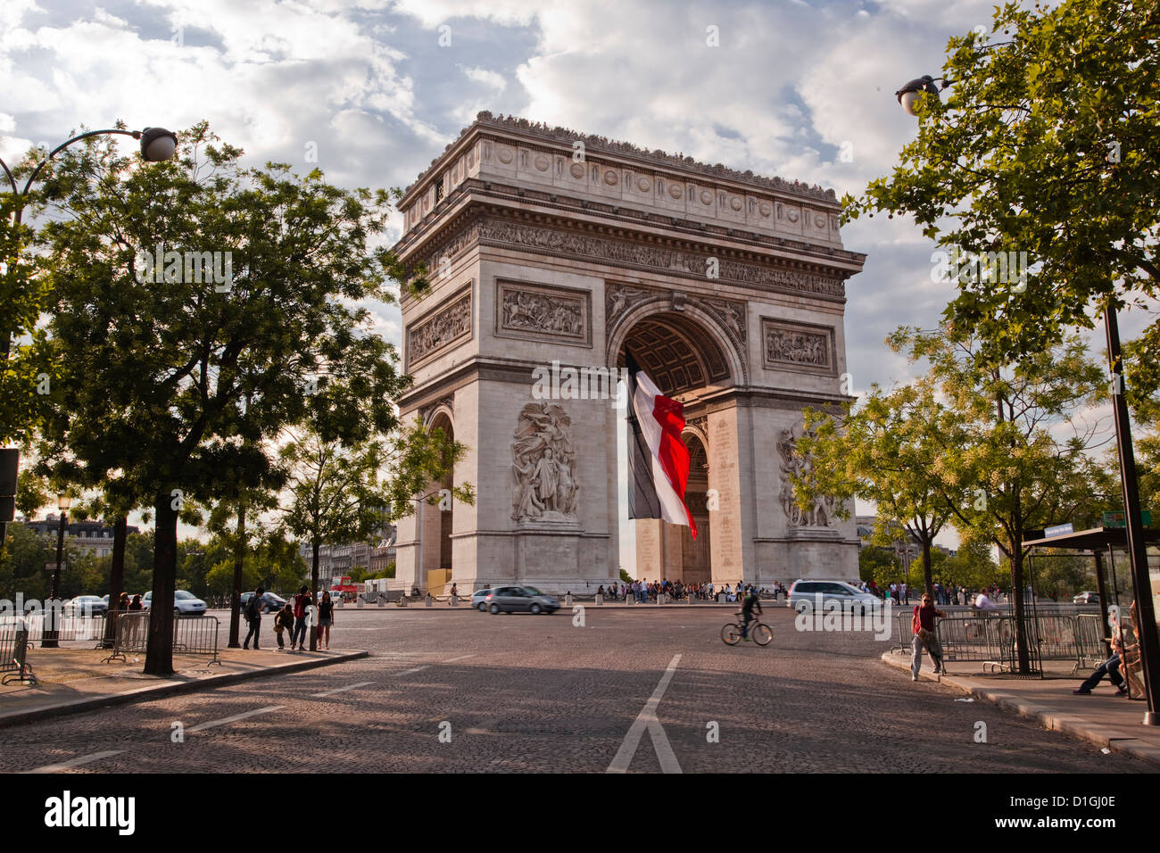 The Arc de Triomphe on the Champs Elysees in Paris, France, Europe - Stock Image