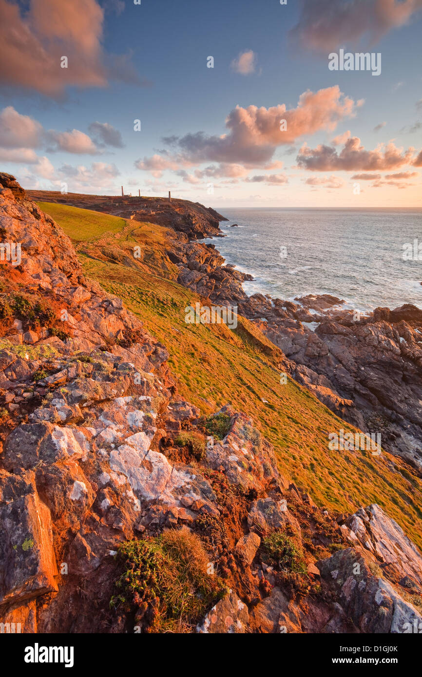 Looking down the Cornish coastline towards Geevor mine, Cornwall, England, United Kingdom, Europe - Stock Image
