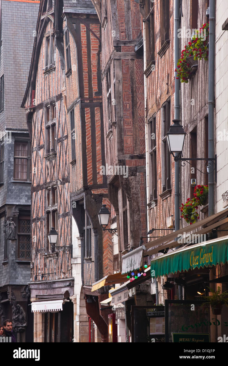 Houses in Vieux or Old Tours, Loire Valley, Tours, Indre-et-Loire, France - Stock Image
