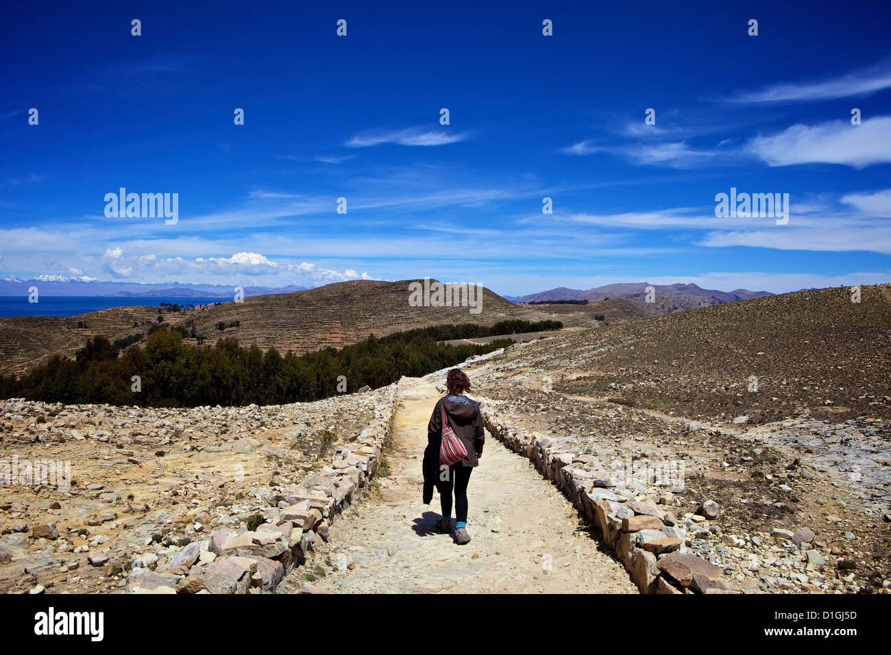 Walking down the path to the centre of the island, Isla del Sol, Lake Titicaca, Bolivia, South America - Stock Image