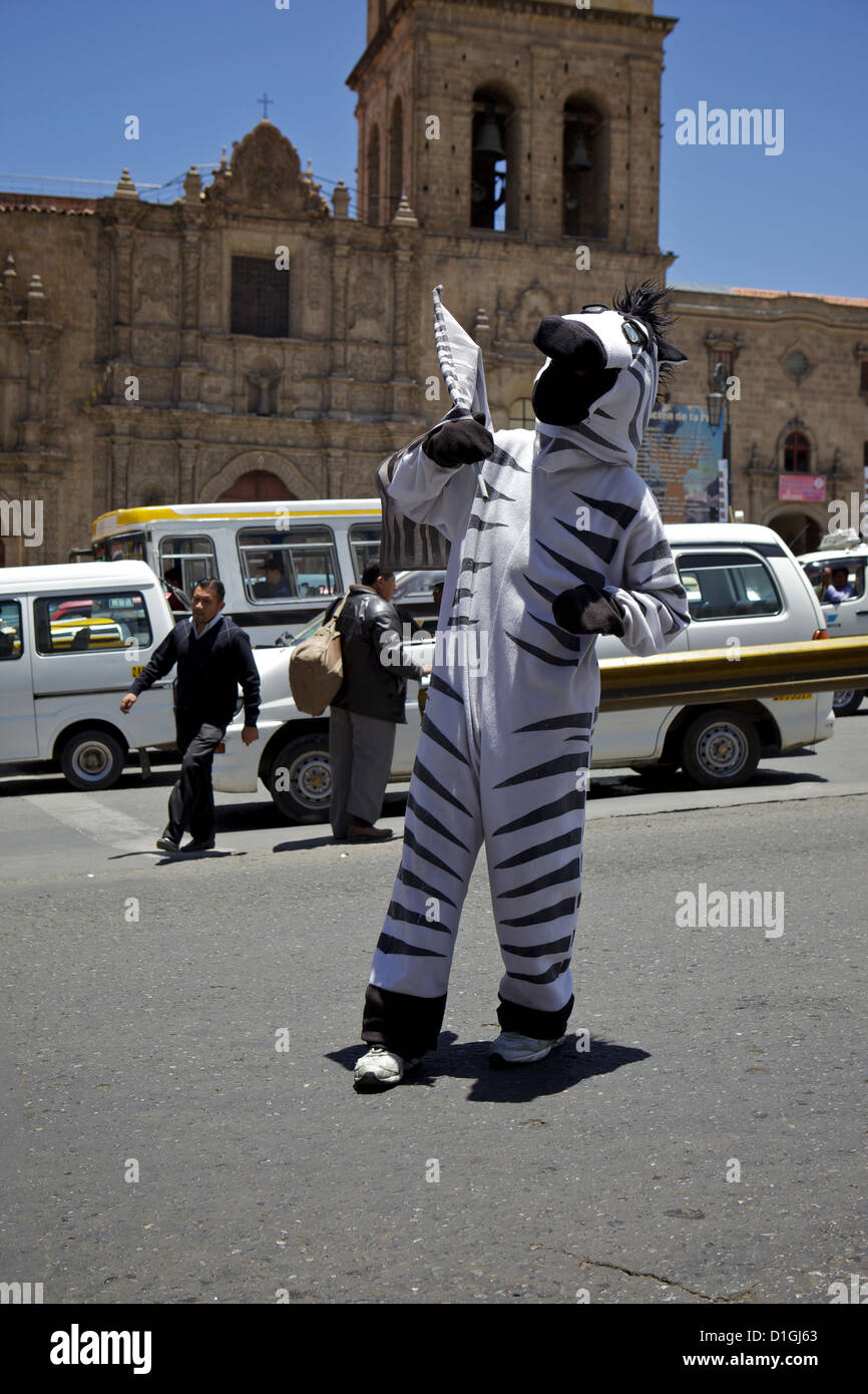Bolivian Traffic Zebras helping you to cross the road safely La Paz, Bolivia, South America - Stock Image