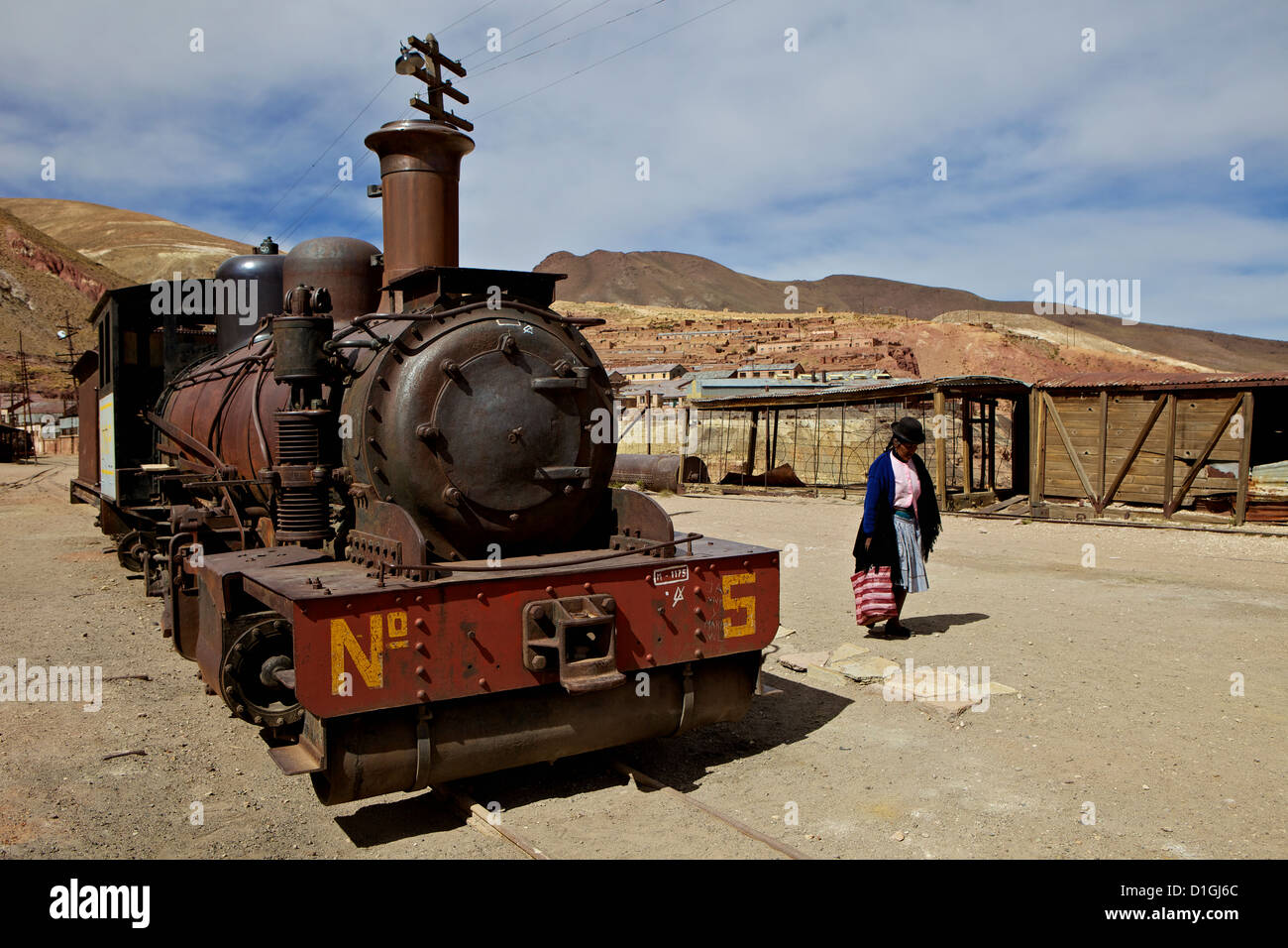 The old mining ghost town of Pulacayo, Industrial Heritage Site, famously linked to Butch Cassidy and the Sundance - Stock Image