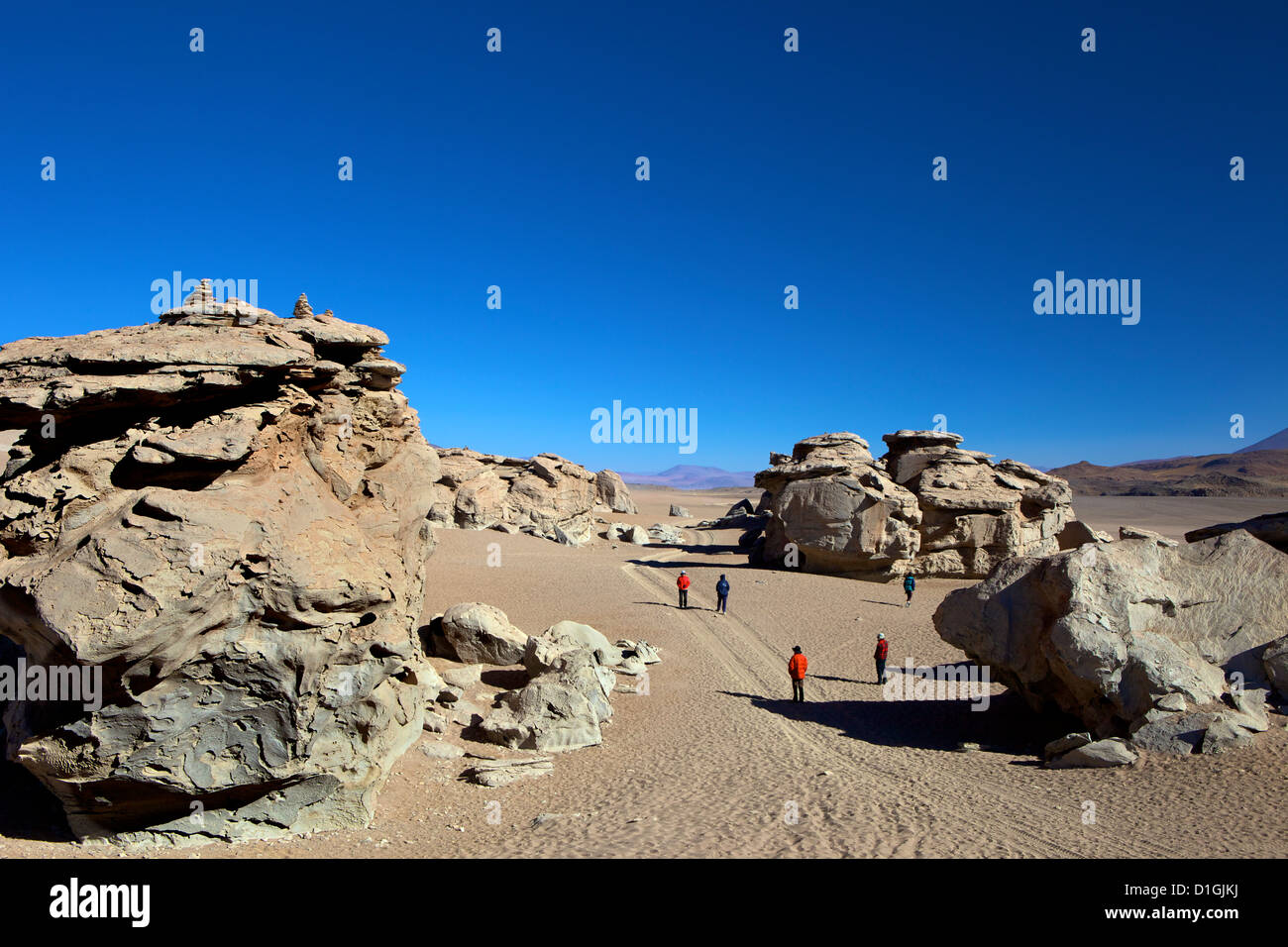Rock formation in the Eduardo Avaroa Andean Fauna National Reserve, Southwest Highlands, Bolivia, South America - Stock Image