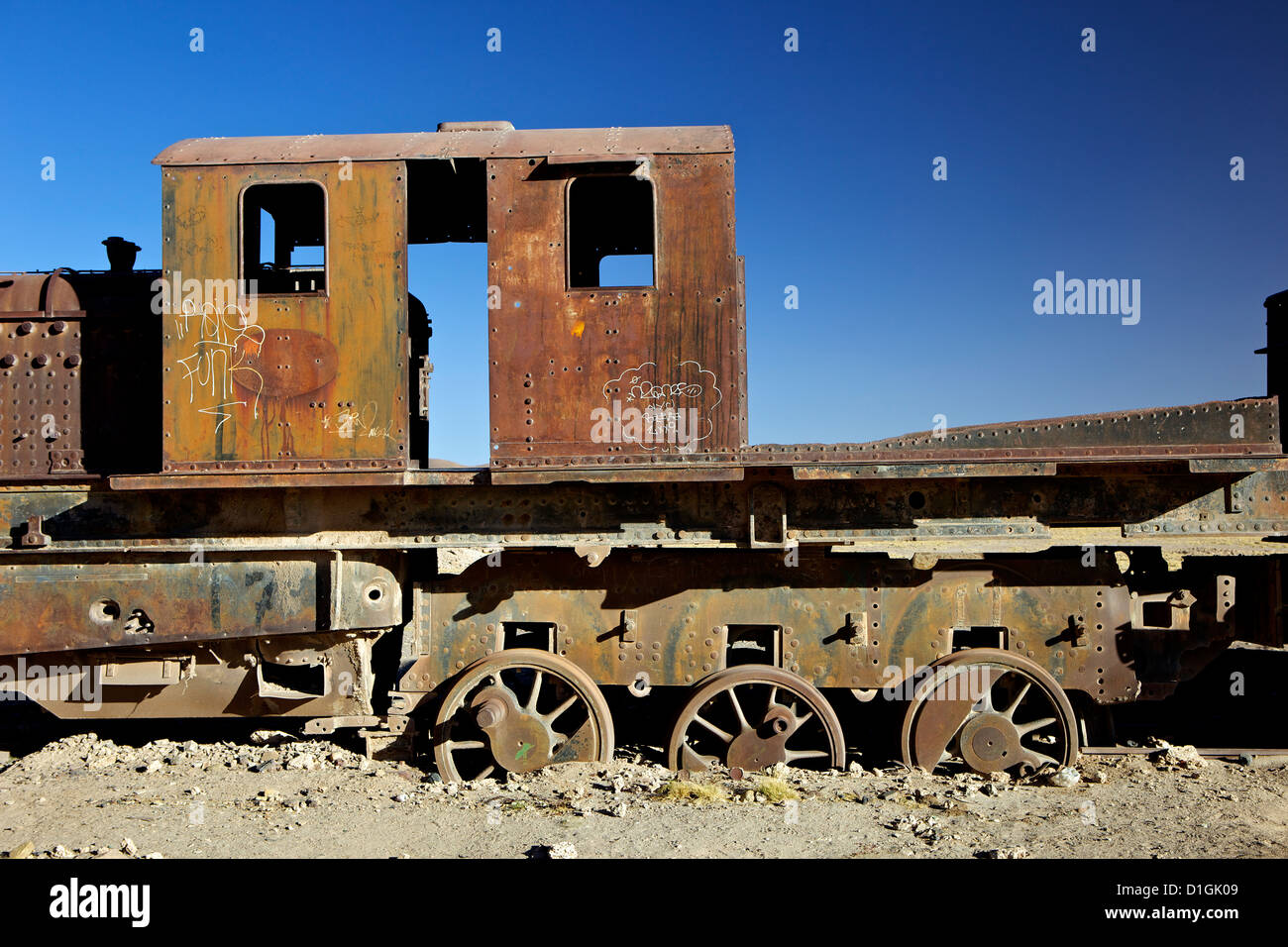 Rusting old steam locomotives at the Train cemetery (train graveyard), Uyuni, Southwest, Bolivia, South America - Stock Image