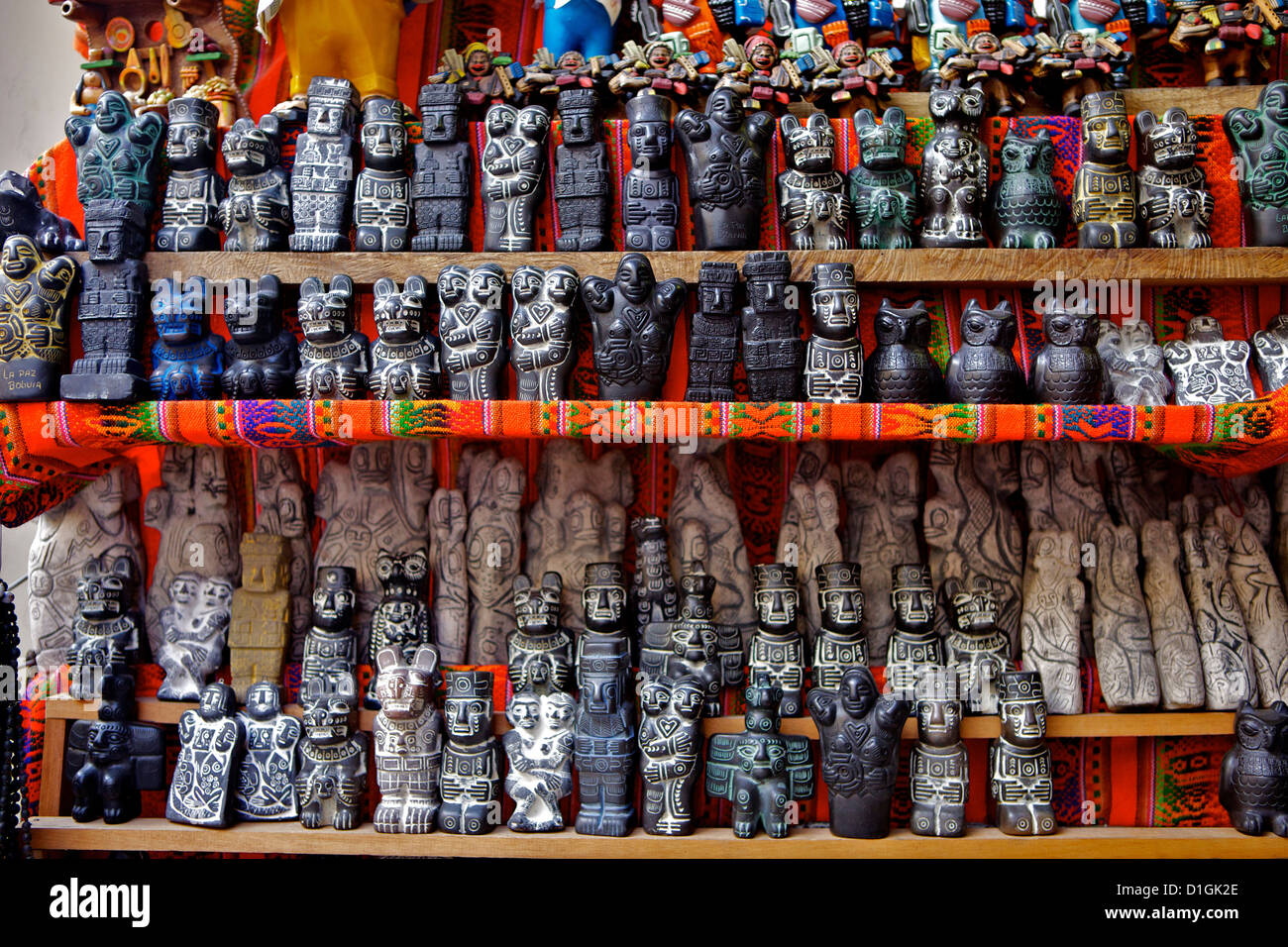 Ceremonial statues for sale in Witches Market, La Paz, Bolivia, South America - Stock Image