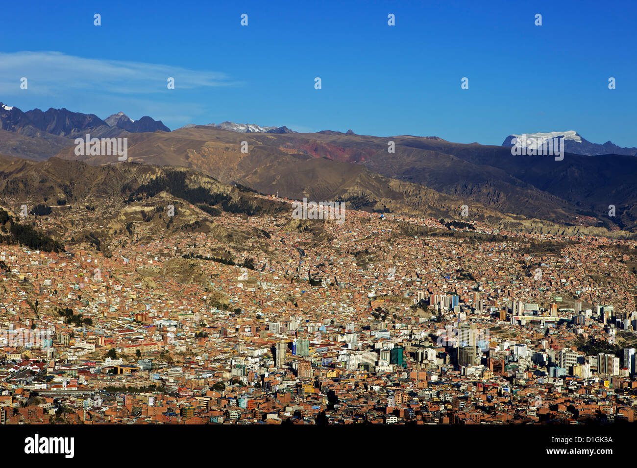 View over La Paz city with Mount Illimani in the background, Bolivia, South America - Stock Image