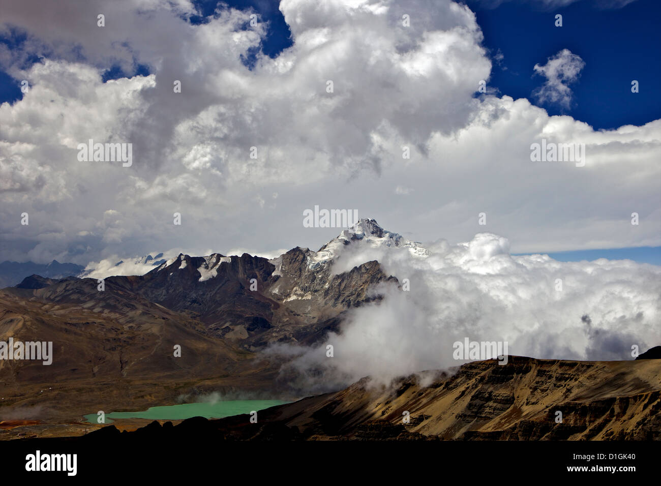 Mount Huayna Potosi viewed from Mount Chacaltaya, Calahuyo, Cordillera real, Bolivia, Andes, South America - Stock Image