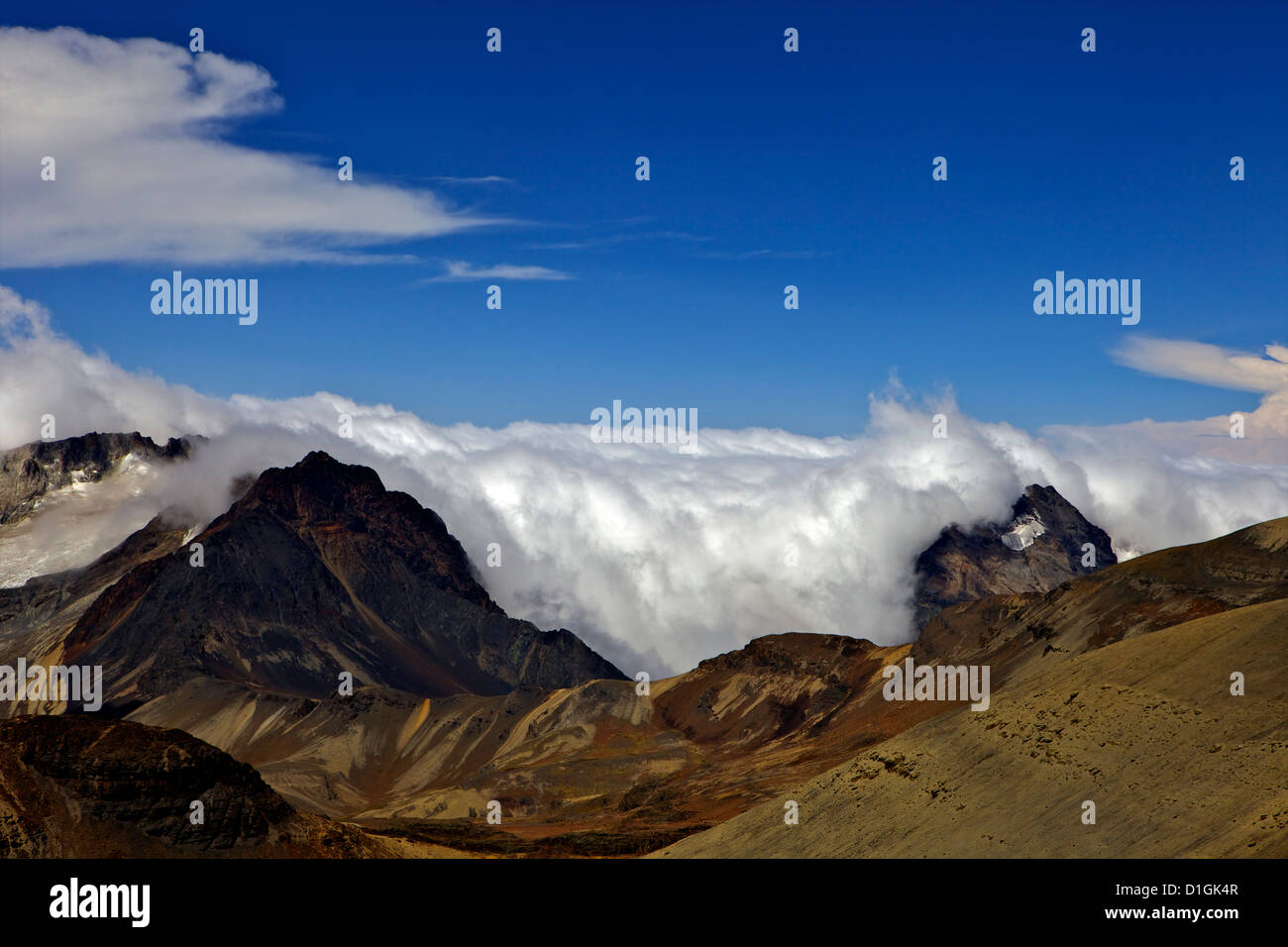 View from Mount Chacaltaya, Calahuyo, Cordillera real, Bolivia, Andes, South America - Stock Image