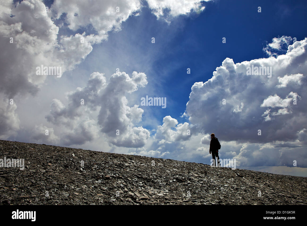 Climber In the clouds Mount Chacaltaya, Cordillera real, Bolivia, Andes, South America - Stock Image