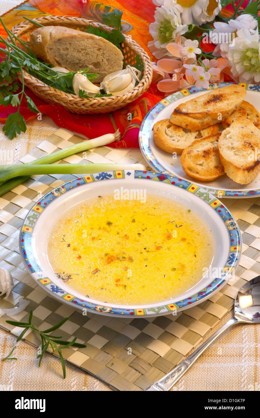 Garlic Soup with croutons - Stock Image