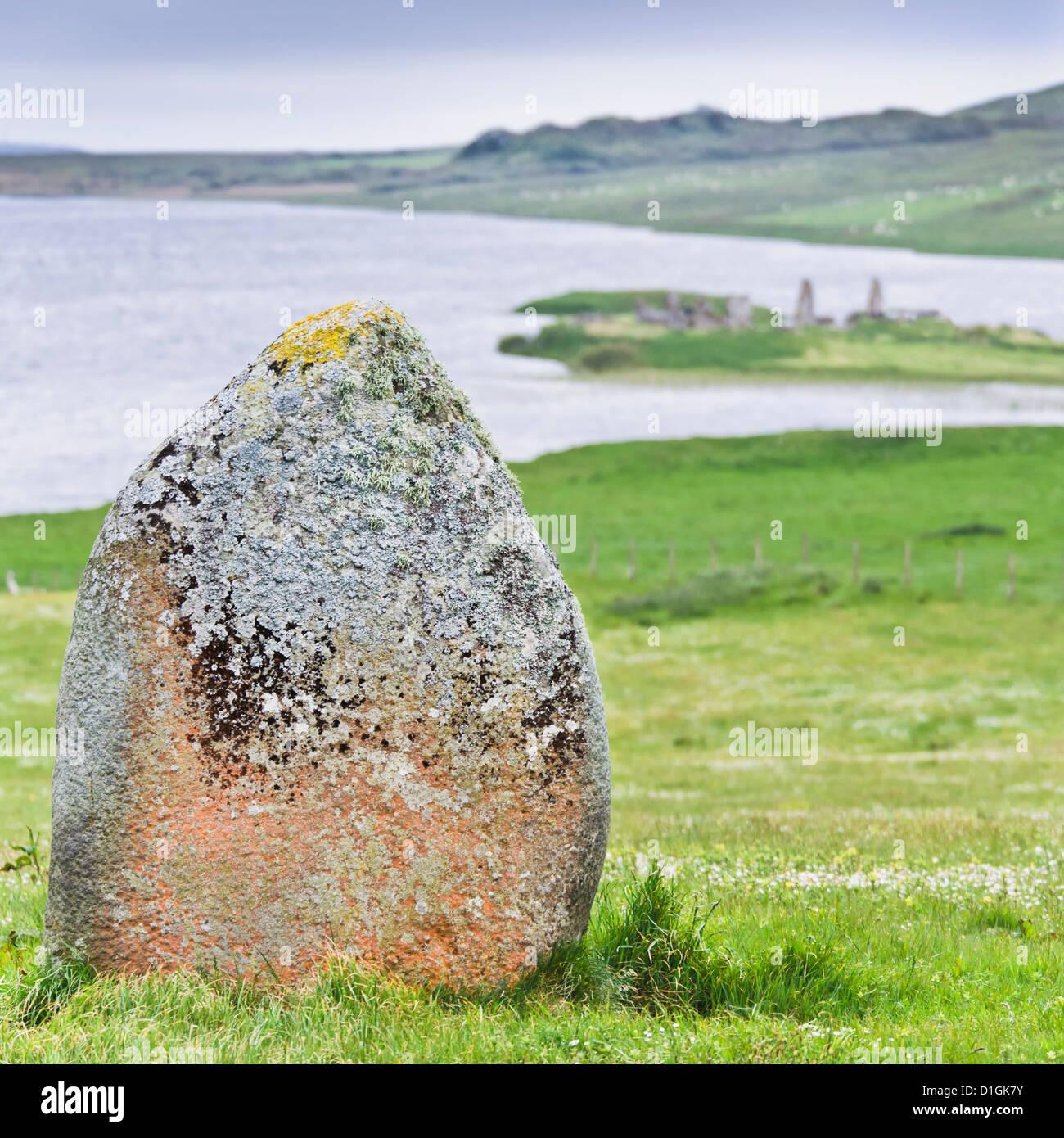 Finlaggan rock, Islay Island, Inner Hebrides, Scotland, United Kingdom, Europe - Stock Image