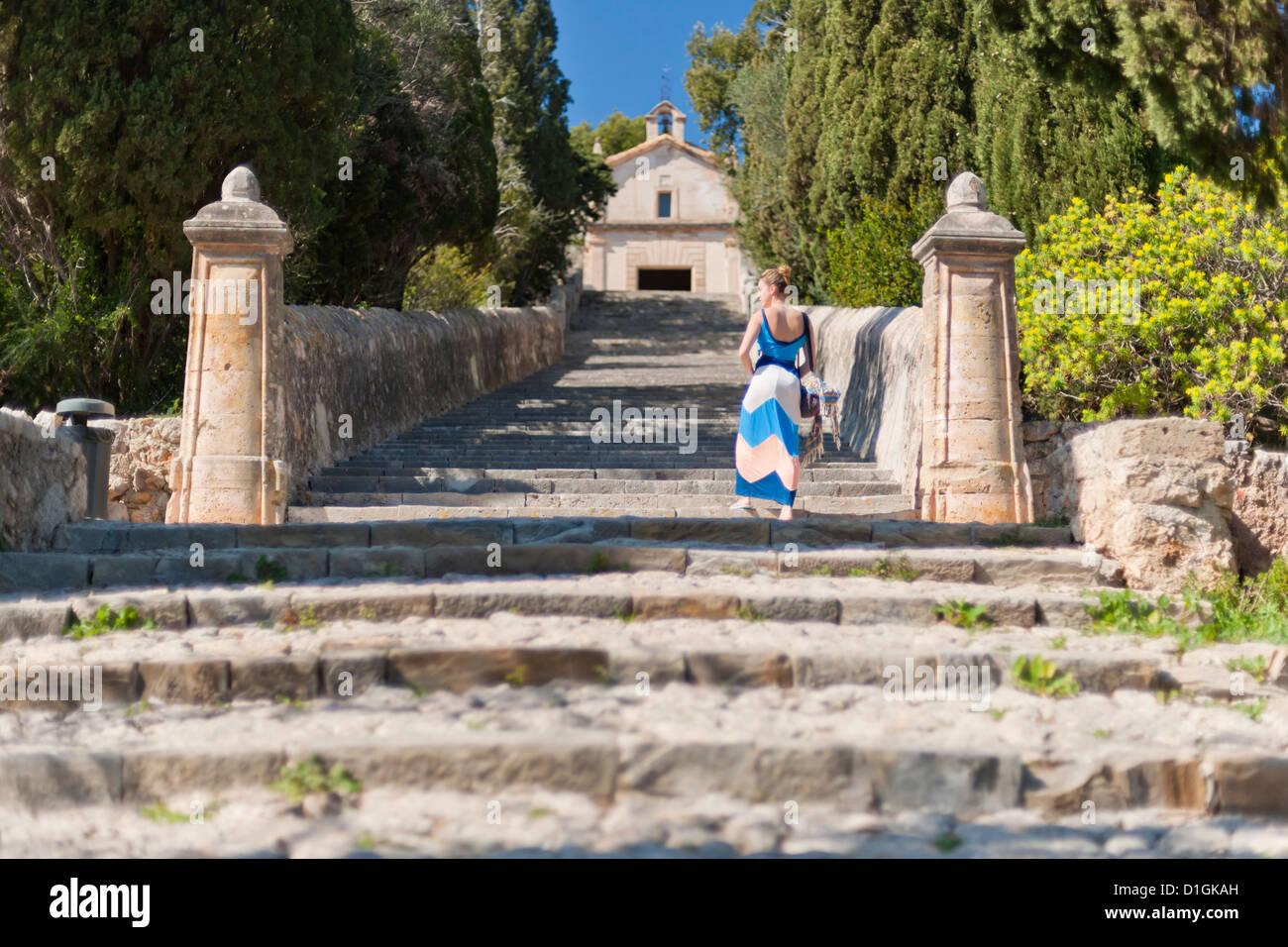 Famous 365-step stairway to the chapel Calvari, Pollenca, Tramuntana, Mallorca, Balearic Islands, Spain, Europe - Stock Image