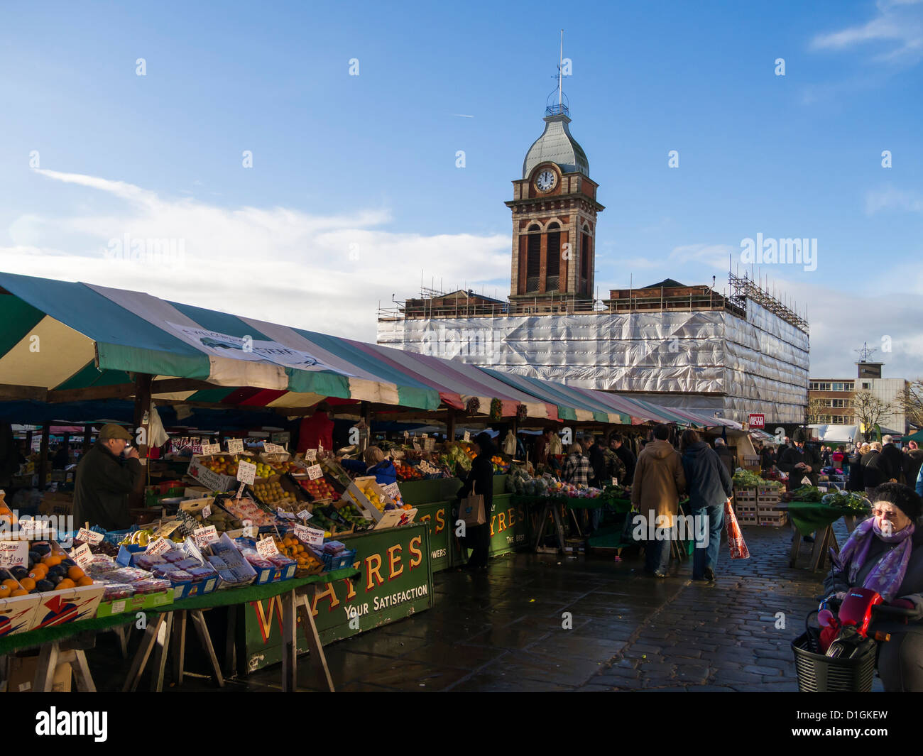 Chesterfield market hall covered in scaffold and sheeting during major refurbishment work Derbyshire England Stock Photo