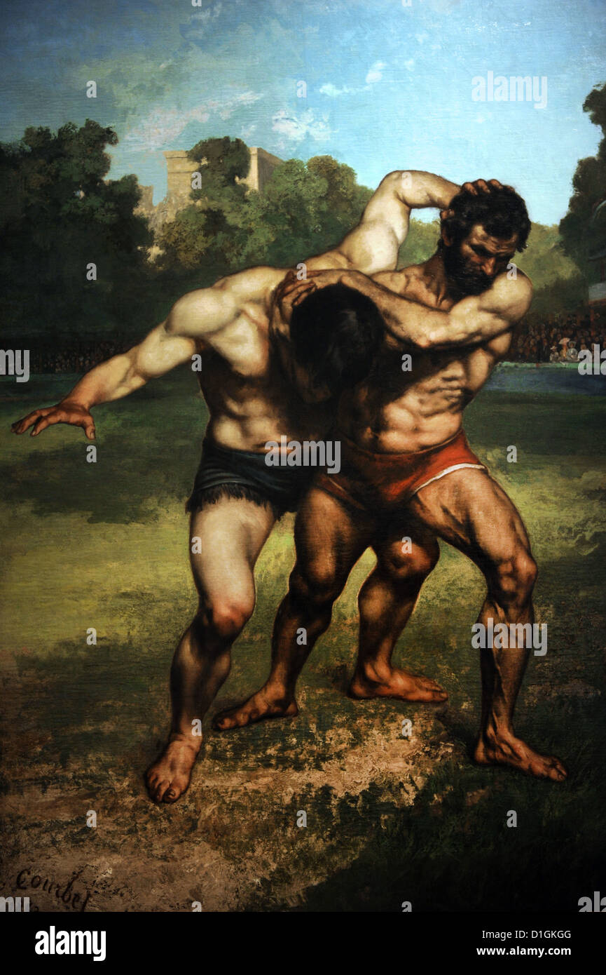 Gustave Courbet (1819-1877). French painter. Wrestlers, 1853. Museum of Fine Arts. Budapest. Hungary. - Stock Image
