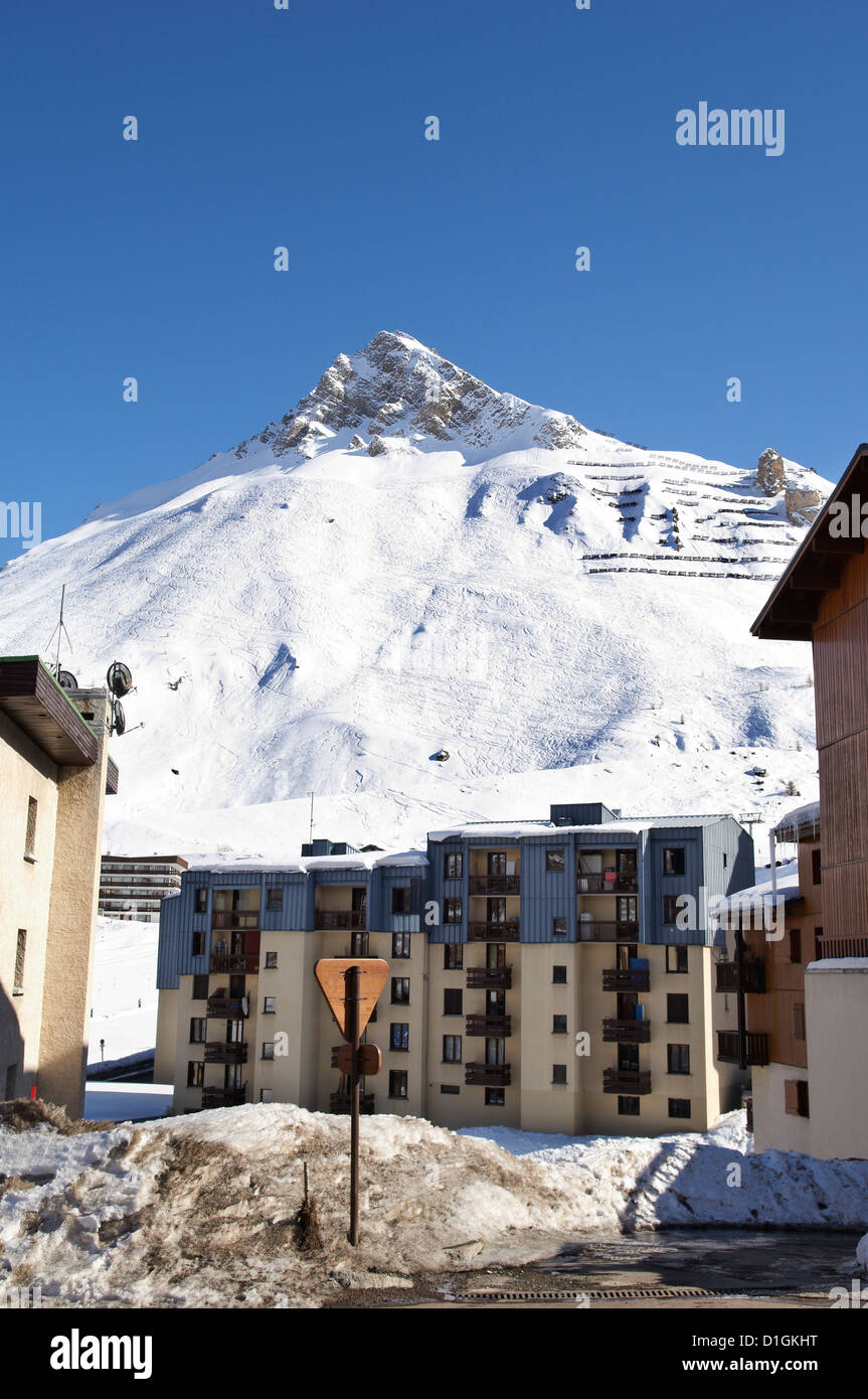 Alpine Ski resort, Tignes-le-Lac, Tignes, Savoie, Rhone-Alpes, French Alps, France, Europe Stock Photo