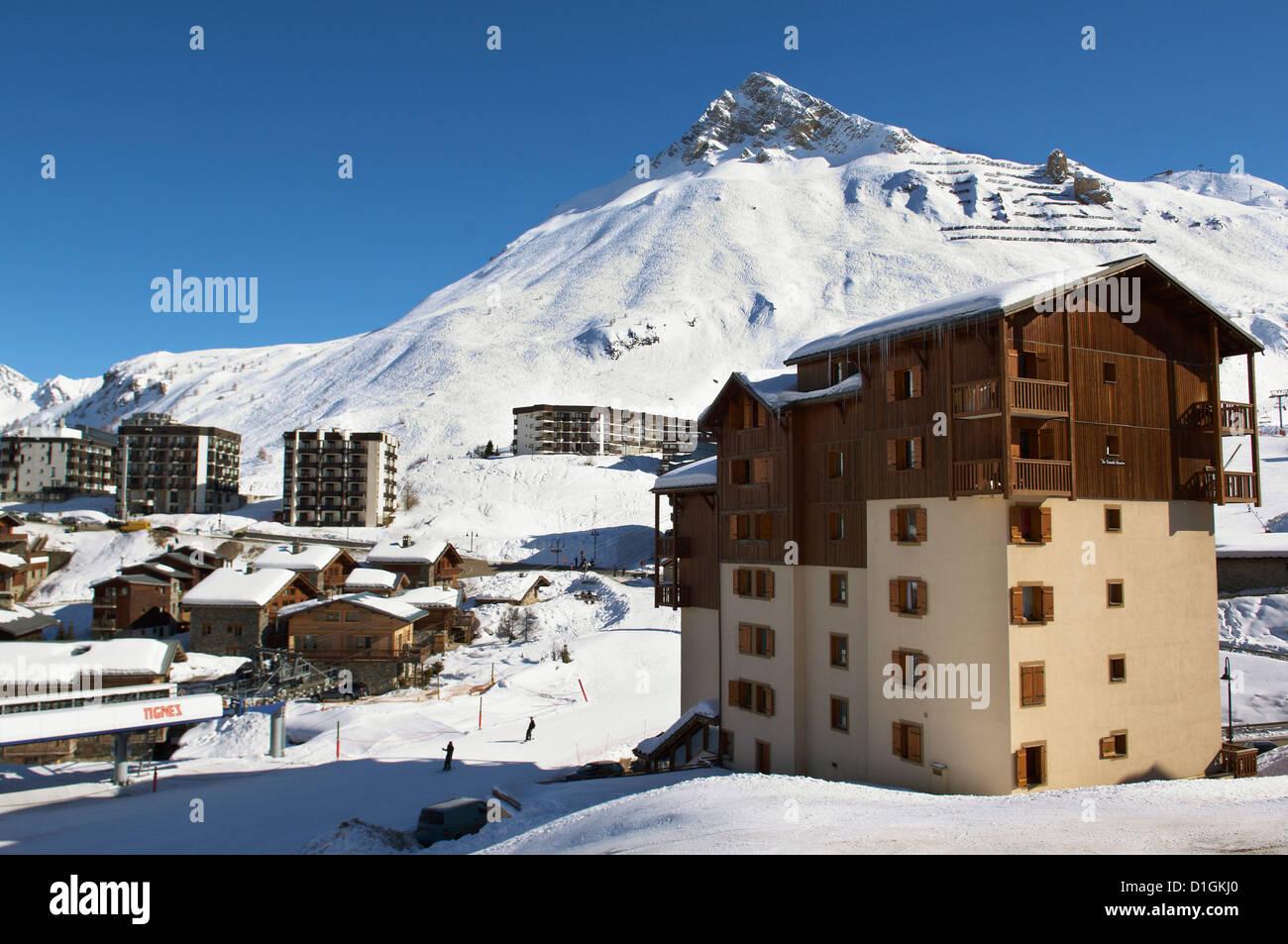 Alpine Ski resort, Tignes-le-Lac, Tignes, Savoie, Rhone-Alpes, French Alps, France, Europe Stock Photo