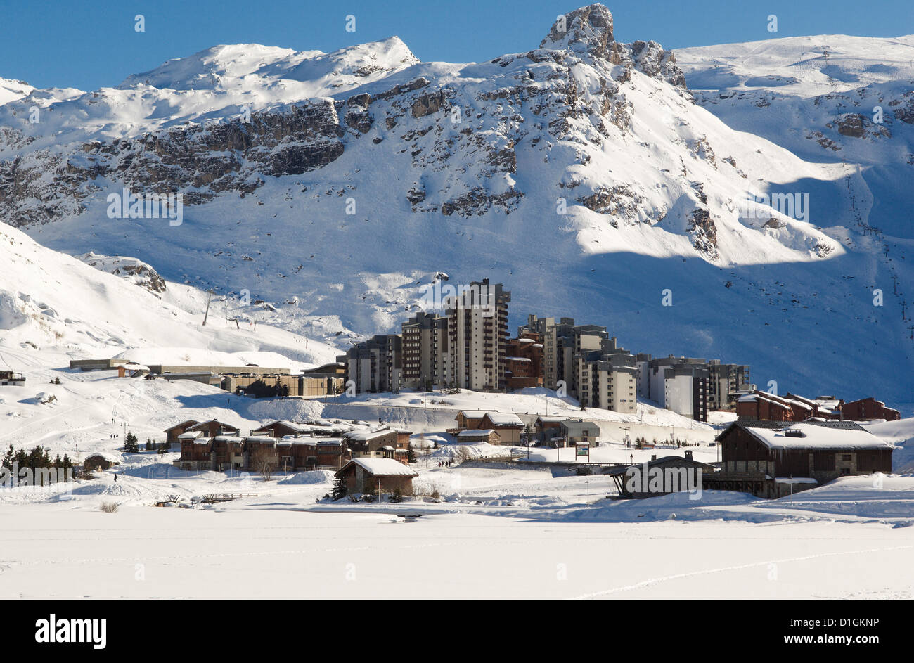 Val Claret, highest village in Tignes, Savoie, Rhone-Alpes, French Alps, France, Europe Stock Photo