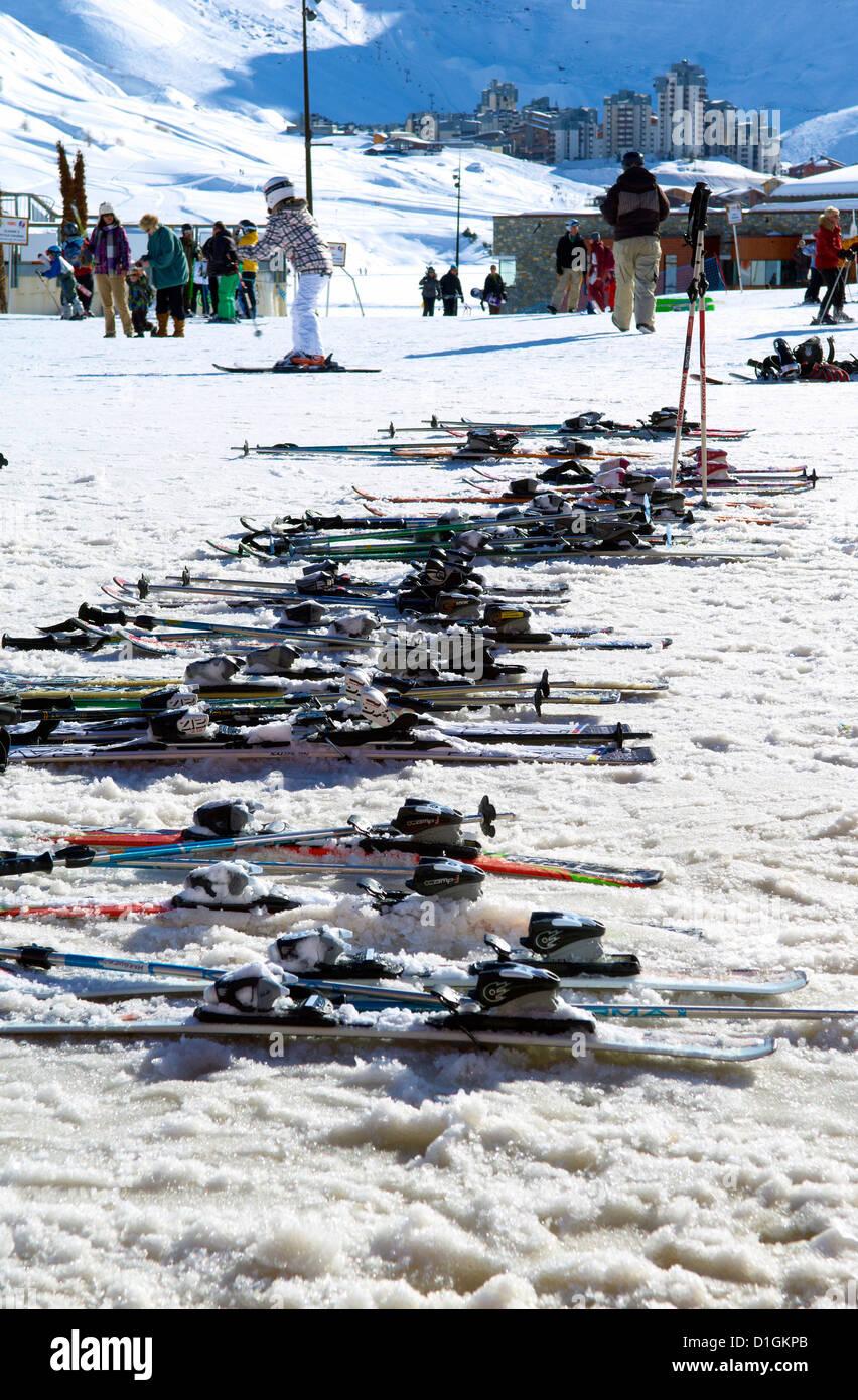 Ski School skis, Tignes, Savoie, Rhone-Alpes, French Alps, France, Europe Stock Photo