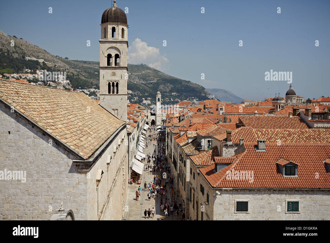 View of the Stradun, the main street inside the Walled City of Dubrovnik, UNESCO World Heritage Site, Croatia, Europe - Stock Image
