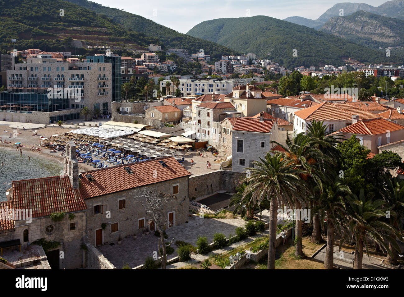 The old walled town of Budva, Montenegro, Europe - Stock Image