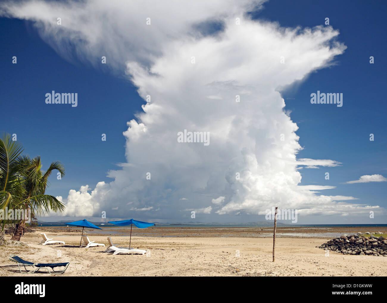 Cumulonimbus cloud taken from Nalamu Beach, Vuda Point, Fiji, Pacific Islands, Pacific - Stock Image