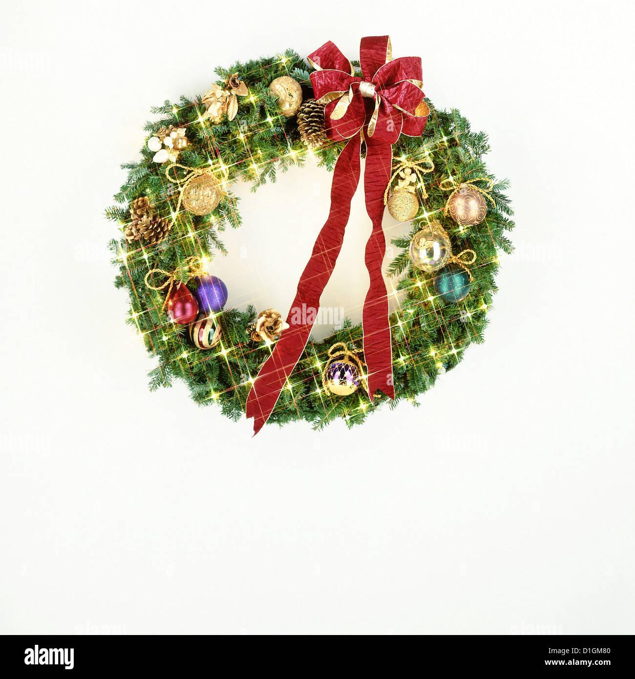 Christmas Wreath Isolated On White Background Stock Photo 52612896