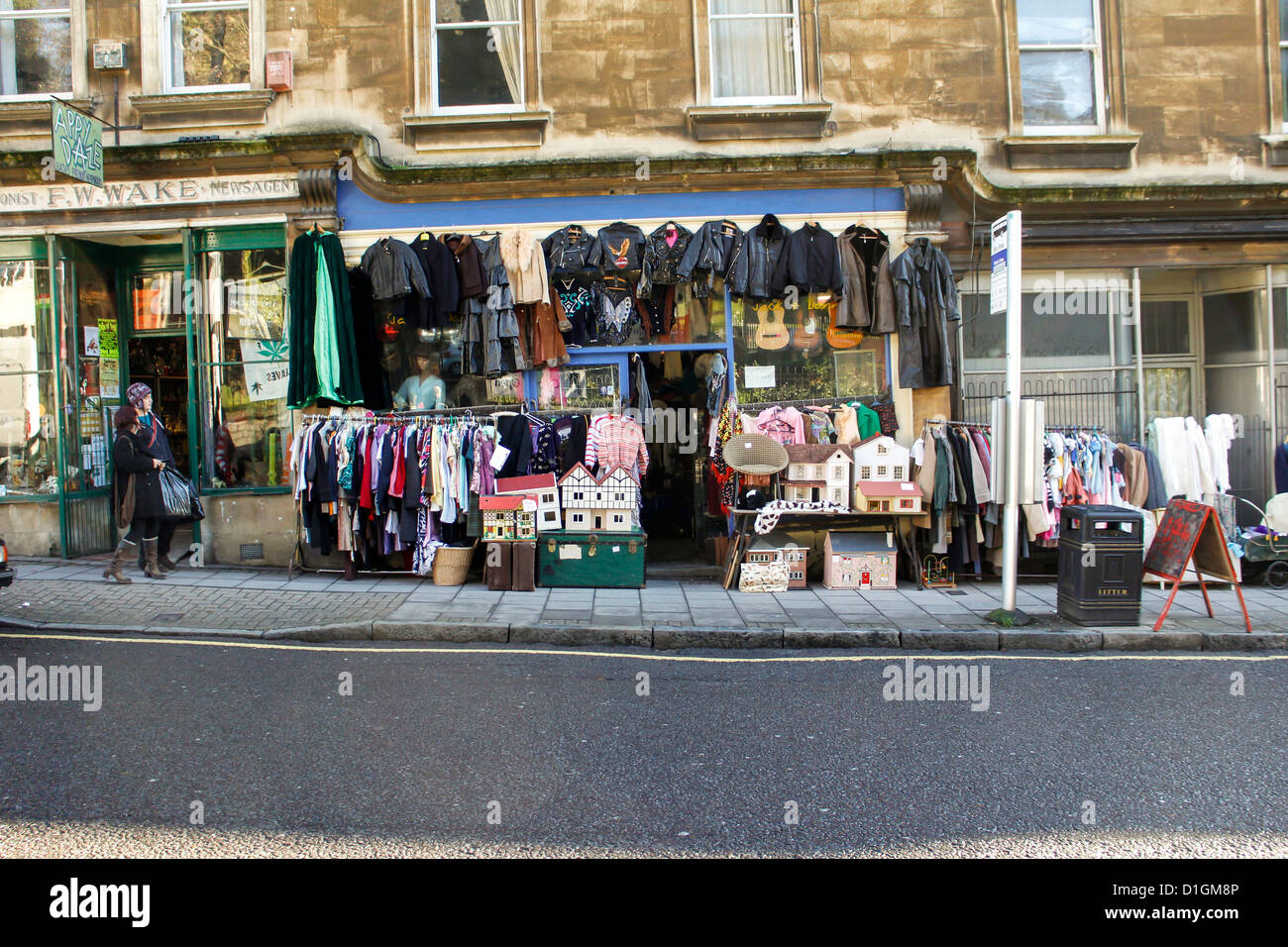 Secondhand clothes and toy shop in Bath, UK - Stock Image