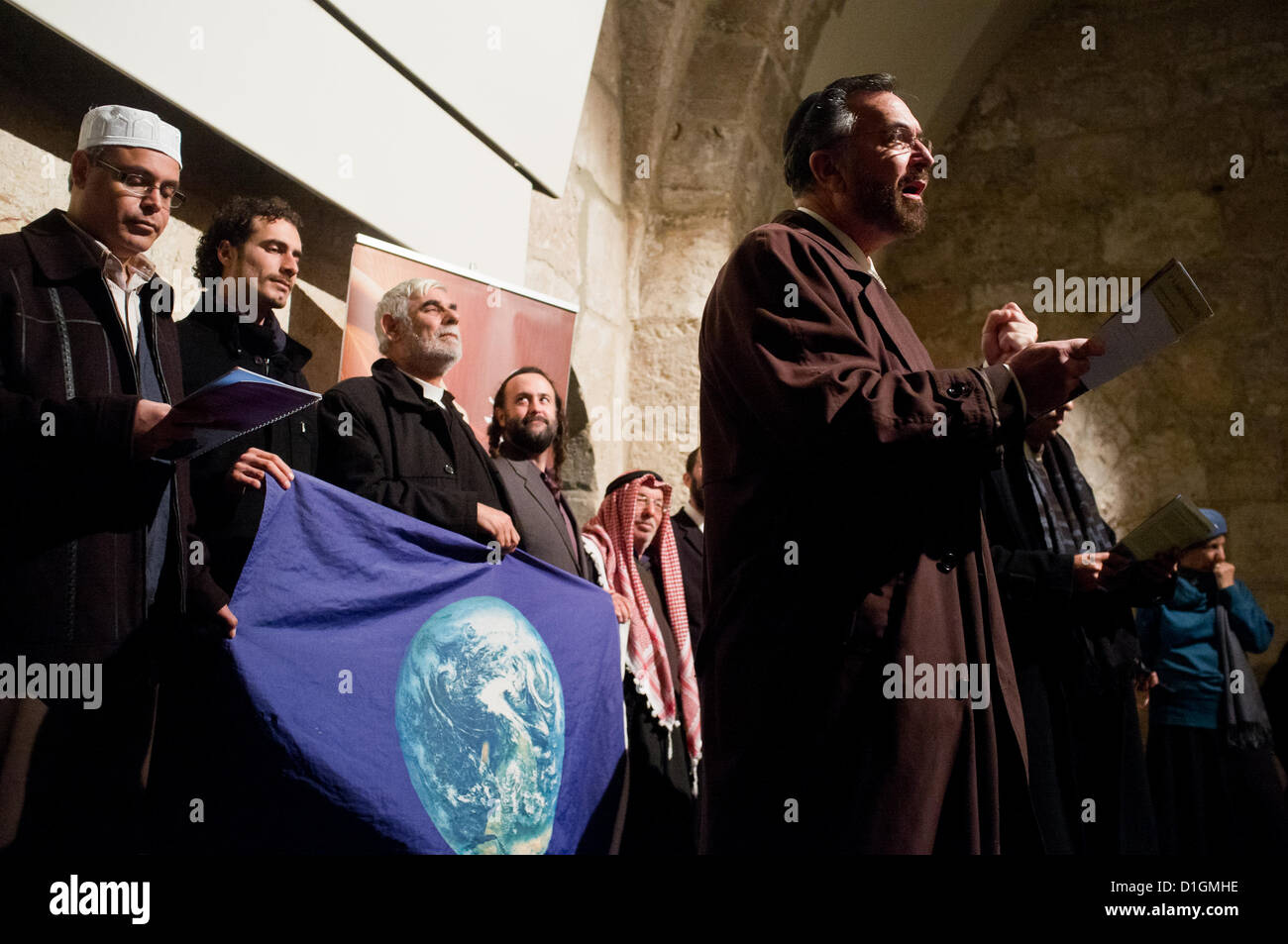 Jerusalem, Israel. 21st December 2012. Rabbi David Rosen addresses participants at an interfaith prayer of unity - Stock Image