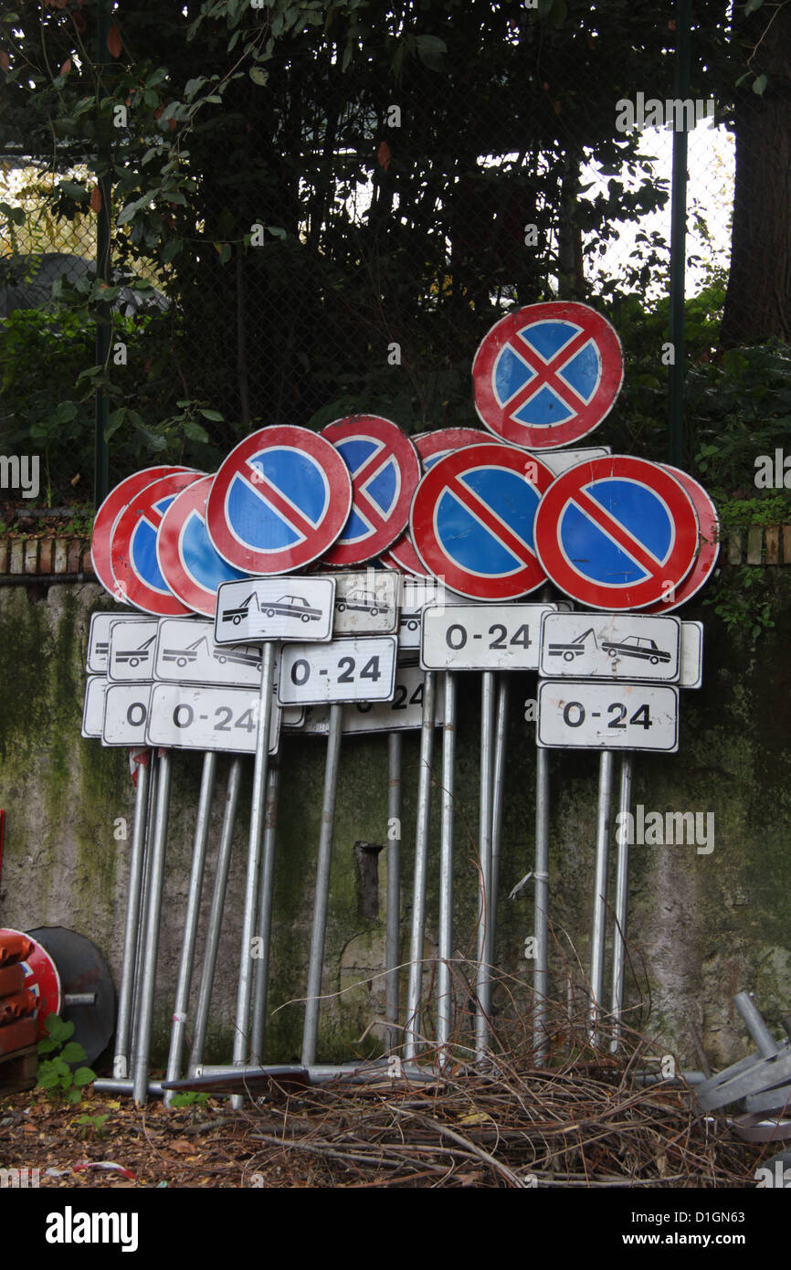 road traffic sign in depot in rome italy - Stock Image