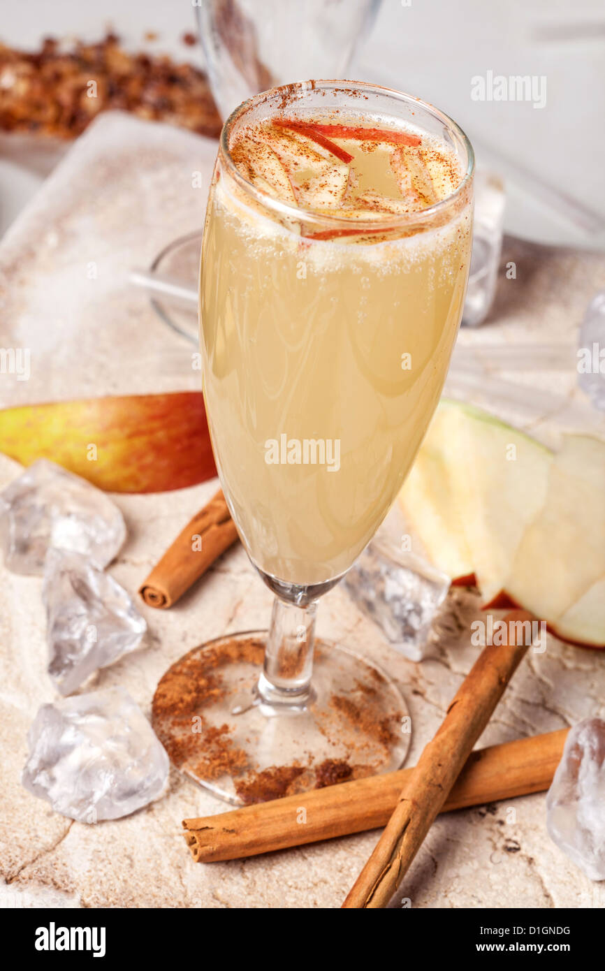 yellow drink, apple and cinnamon Stock Photo