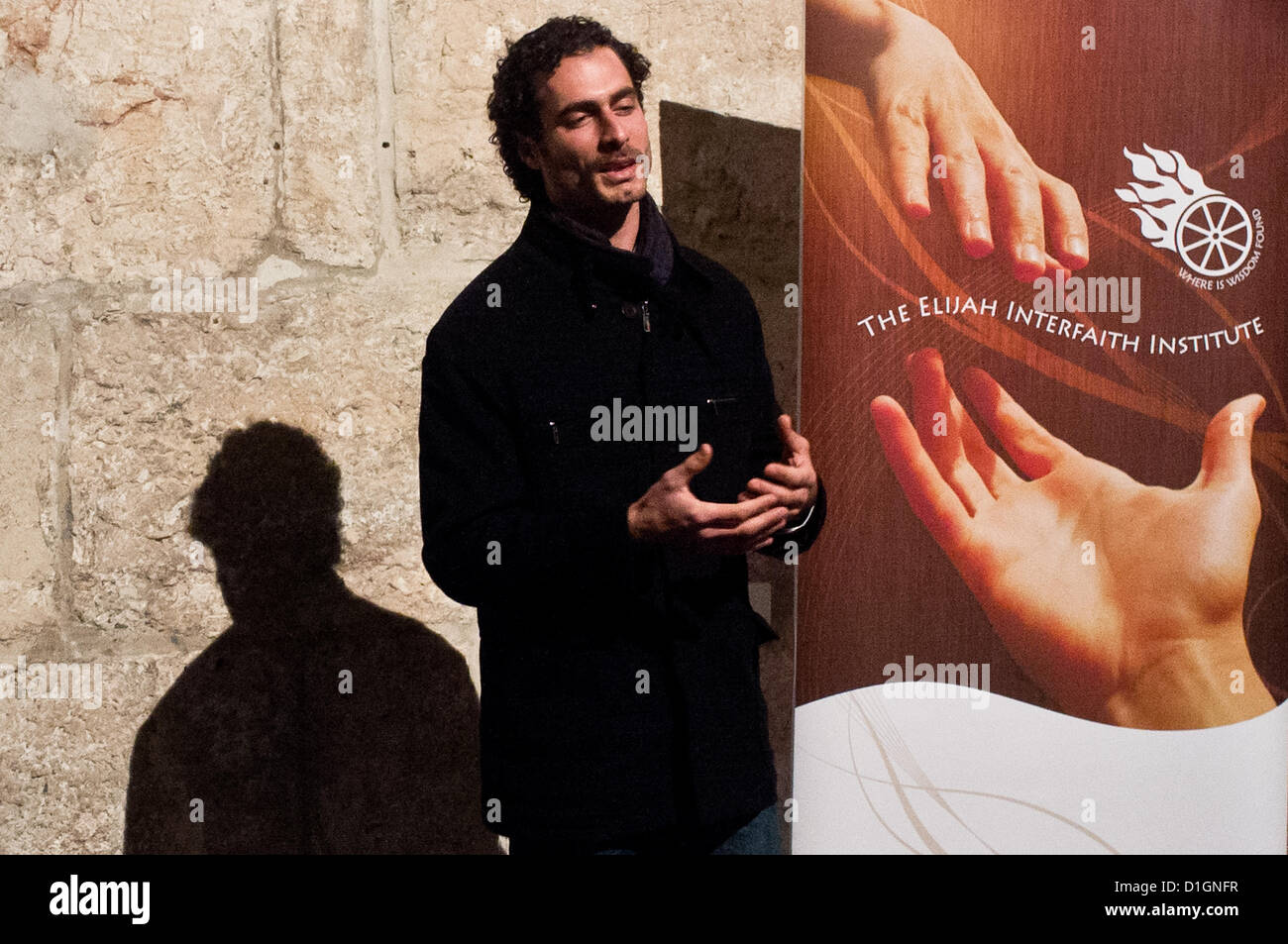 Jerusalem, Israel. 21st December 2012. Director of UNIFY addresses participants at an interfaith prayer of unity - Stock Image