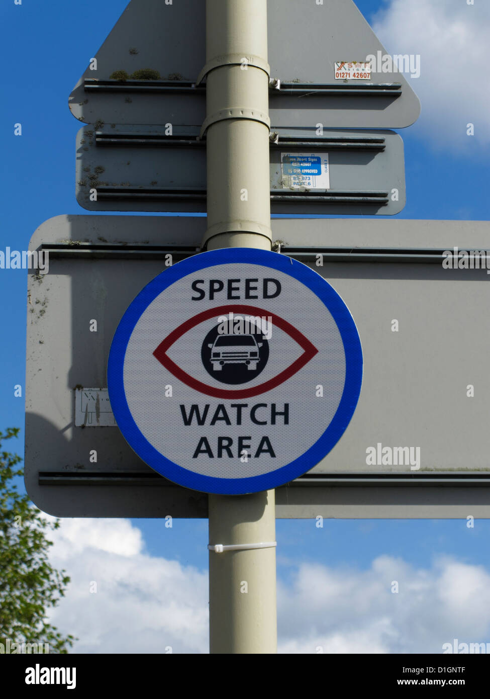 Speed Watch Area sign UK community speed reduction campaign program programme - Stock Image