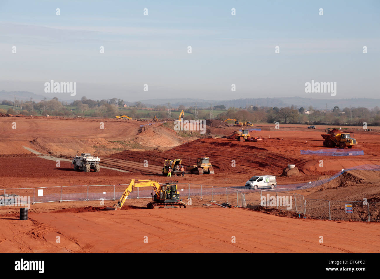 Brownfied development of redundant landfill site earthmoving with lime stabilization  new building construction Stock Photo