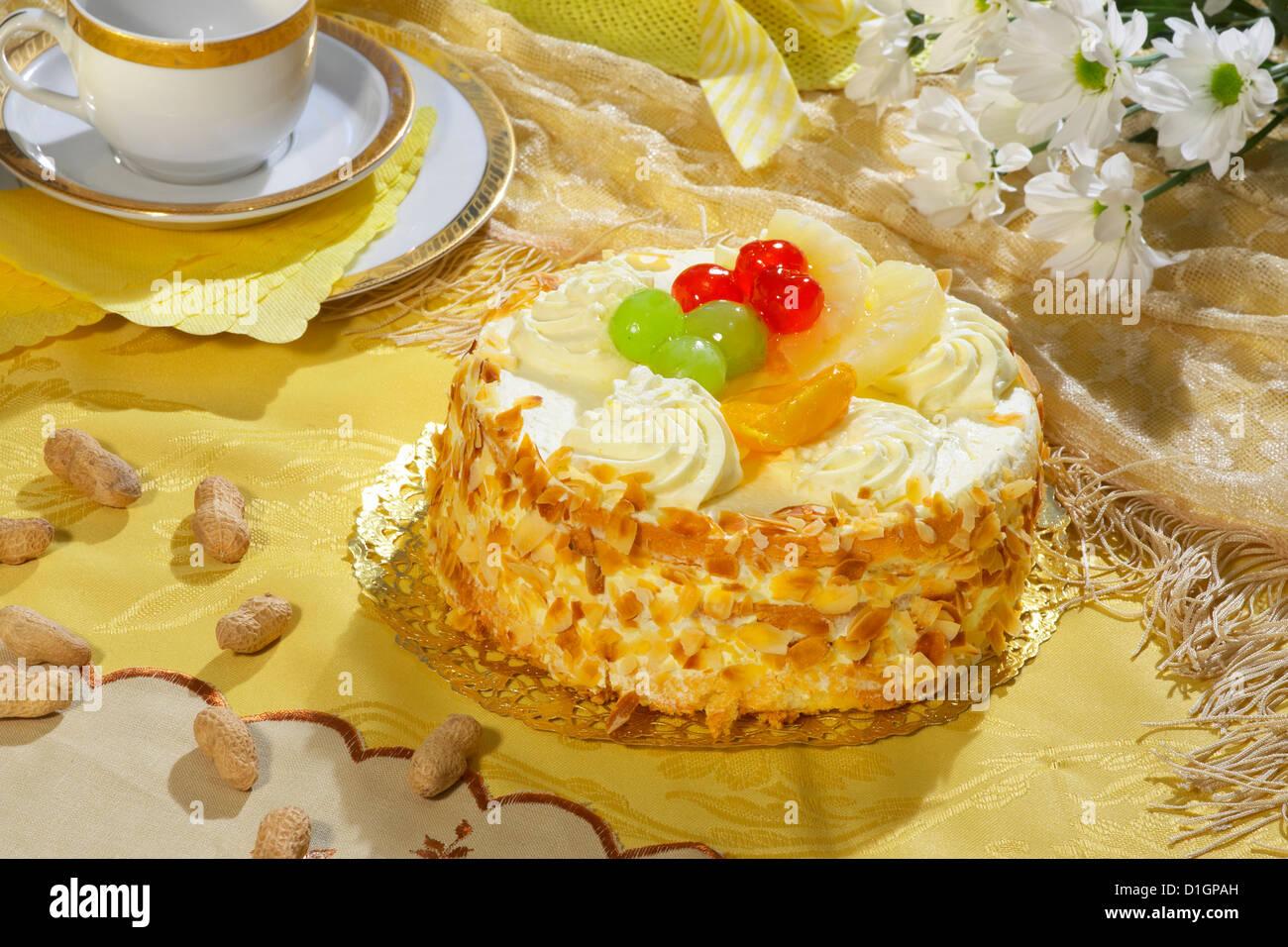 Vanilla Cream Cake - Stock Image