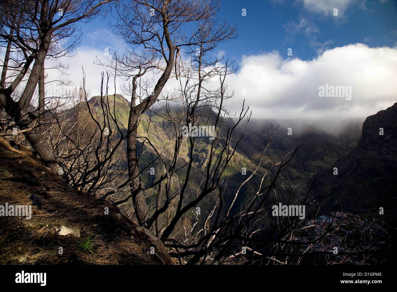 Eira do Serrado, with a view to Nun's Valley & the village of Curral das Freiras, Maderia, Portugal. - Stock Image