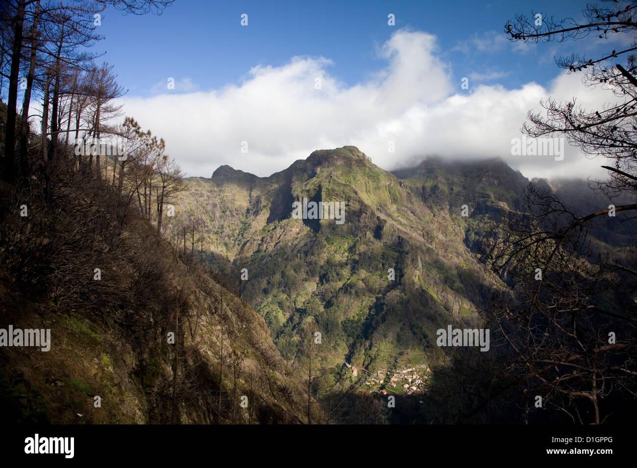 Eira do Serrado, with a view to Nun's Valley & the village of Curral das Freiras, Madeira, Portugal. - Stock Image