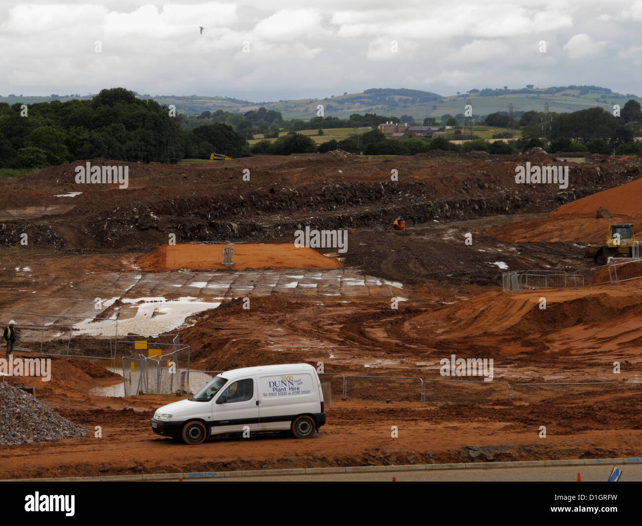 Brown field site old landfill refuse former rubbish tip being remediated for development of industrial estate Devon - Stock Image