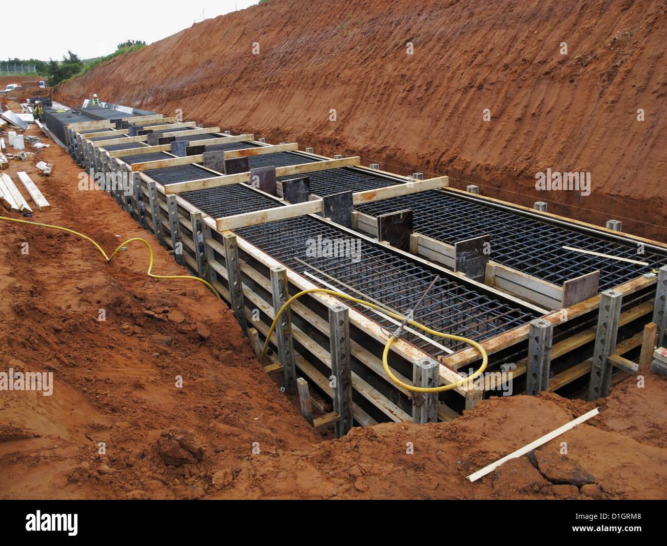 Shuttering For Bridges : Formwork shuttering of bridge foundation ready for